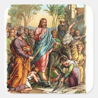 El vintage Pegatina-Jesús entra en Jerusalén Pegatina Cuadrada
