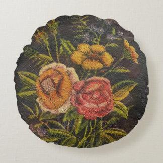 El vintage pintado florece color de rosa cojín redondo