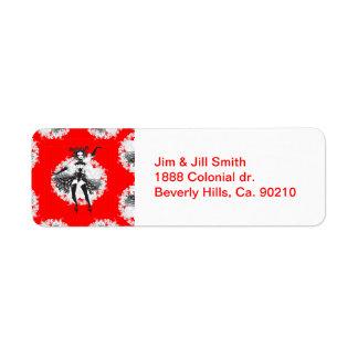 El vintage puede poder al bailarín rojo y negro etiqueta de remite