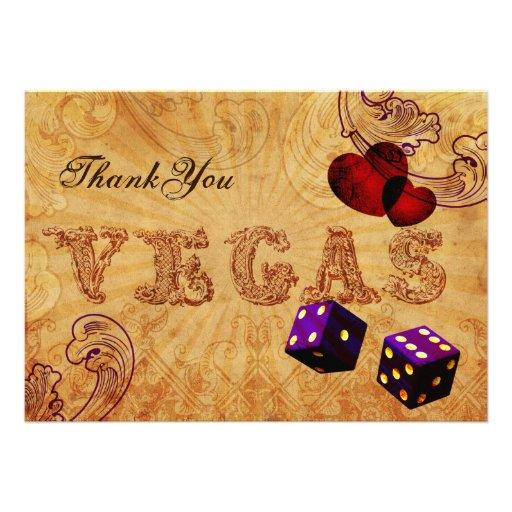 el vintage púrpura Vegas de los dados le agradece Invitacion Personal