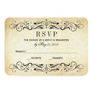 El vintage que casa RSVP carda el Flourish Invitación 8,9 X 12,7 Cm