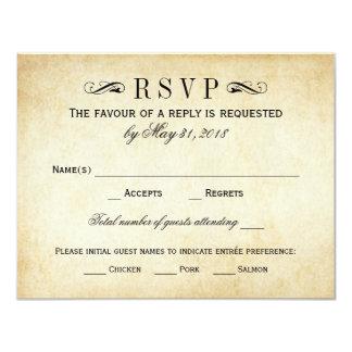 """El vintage que casa RSVP carda el Flourish Invitación 4.25"""" X 5.5"""""""