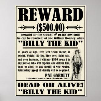 El vintage quiso el poster Billy el niño