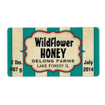El vintage raya el tarro de la miel del Wildflower Etiqueta De Envío