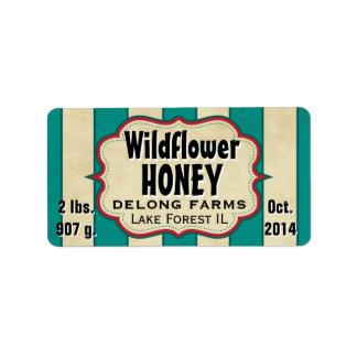El vintage raya el tarro de la miel del Wildflower Etiqueta De Dirección