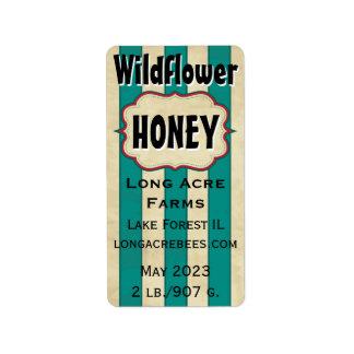 El vintage raya la miel del Wildflower Etiquetas De Dirección