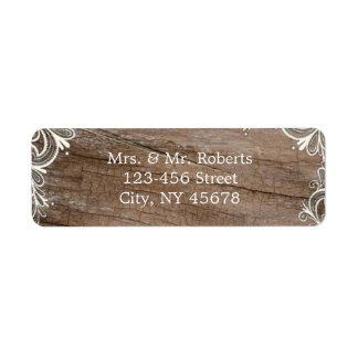 el vintage remolina el boda de madera del país del etiqueta de remite