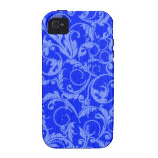 El vintage retro remolina casamata del azul del iPhone 4/4S fundas
