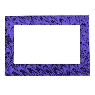 El vintage retro remolina las ondas azules púrpura marcos magneticos de fotos