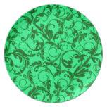 El vintage retro remolina placa verde plato de comida