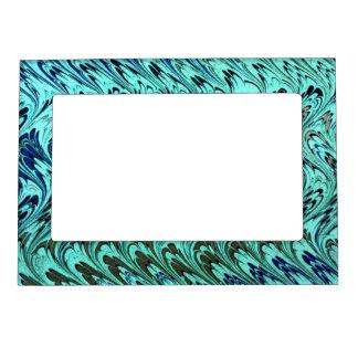 El vintage retro remolina plata azul de la verde s marcos magnéticos