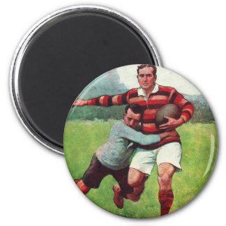 El vintage retro se divierte rugbi inglés imán redondo 5 cm