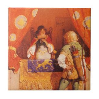 El vintage Robin Hood encuentra a la criada Azulejo Cuadrado Pequeño