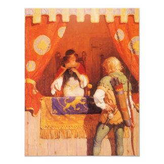 """El vintage Robin Hood encuentra a la criada Invitación 4.25"""" X 5.5"""""""