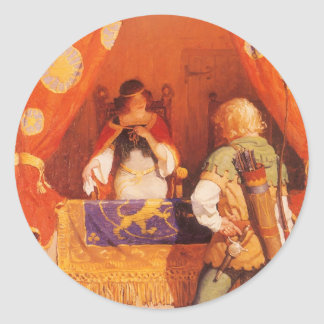 El vintage Robin Hood encuentra a la criada Pegatina Redonda