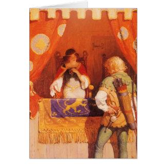 El vintage Robin Hood encuentra a la criada Tarjeta De Felicitación