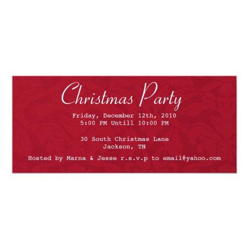 El vintage rojo de la fiesta de Navidad invita Invitación 10,1 X 23,5 Cm
