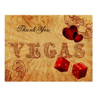 el vintage rojo Vegas de los dados le agradece Postal