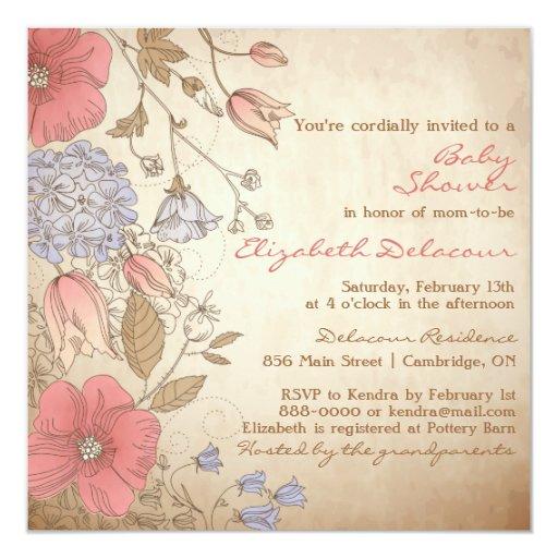 El vintage rojo y la púrpura florece la fiesta de invitación 13,3 cm x 13,3cm