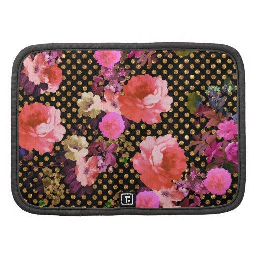 El vintage rosado elegante florece lunares negros  organizadores