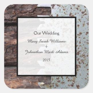 El vintage rústico consideró favor del boda pegatina cuadrada