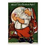 El vintage Santa del KRW prepara la tarjeta - modi