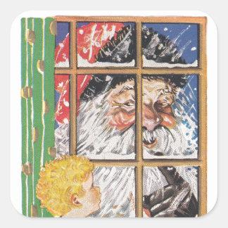 El vintage Santa del pegatina supervisa travieso o