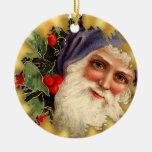 El vintage Santa hace frente al ornamento de Adorno Redondo De Cerámica