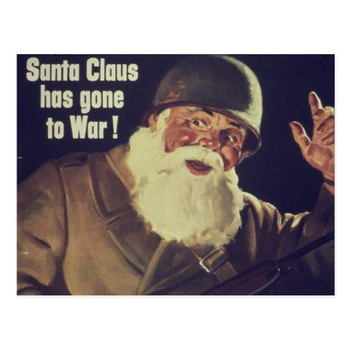 El vintage Santa va al poster de la guerra Tarjeta Postal
