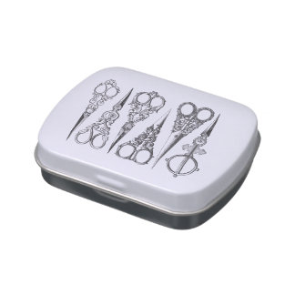 El vintage Scissors decorativo blanco negro elegan Frascos De Caramelos