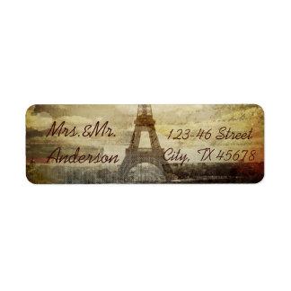 el vintage scripts el boda de la torre Eiffel de Etiqueta De Remitente