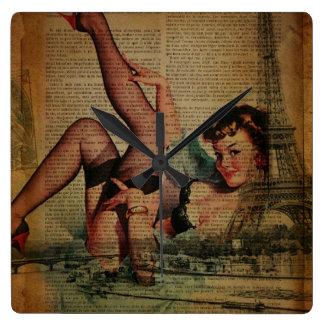 el vintage scripts el perno encima de la moda de P Reloj Cuadrado