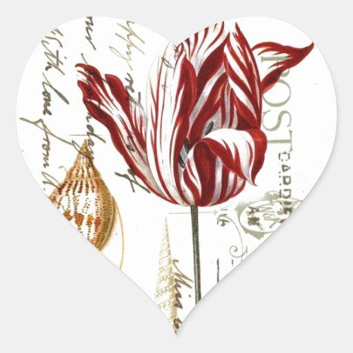 el vintage scripts tulipanes botánicos del país pegatina en forma de corazón