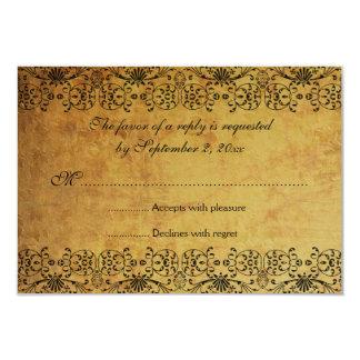 El vintage se descoloró damasco negro del oro que invitación 8,9 x 12,7 cm