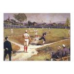 El vintage se divierte a los jugadores de béisbol invitación 12,7 x 17,8 cm