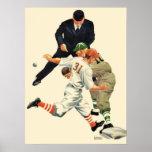 El vintage se divierte a los jugadores de béisbol posters
