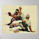 El vintage se divierte a los jugadores de béisbol poster