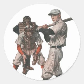 El vintage se divierte a los jugadores de béisbol pegatina redonda