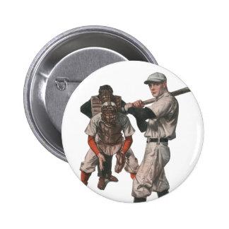 El vintage se divierte a los jugadores de béisbol chapa redonda 5 cm