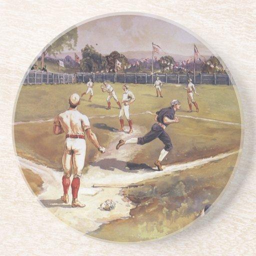 El vintage se divierte a los jugadores de béisbol posavasos para bebidas