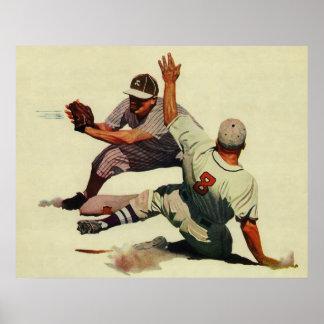 El vintage se divierte a los jugadores de béisbol póster