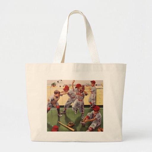 El vintage se divierte al equipo de béisbol, bolsa tela grande