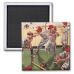 El vintage se divierte al equipo de béisbol, imán cuadrado