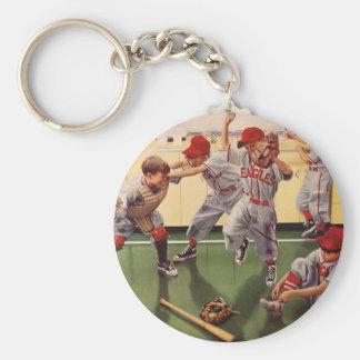 El vintage se divierte al equipo de béisbol, llavero redondo tipo chapa