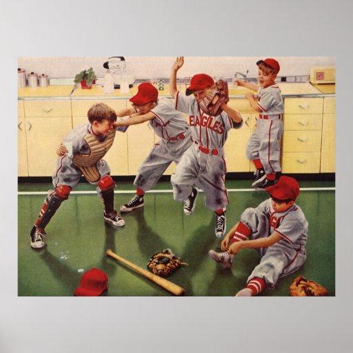 El vintage se divierte al equipo de béisbol, mucha posters