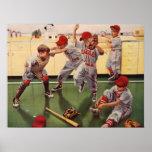 El vintage se divierte al equipo de béisbol, póster