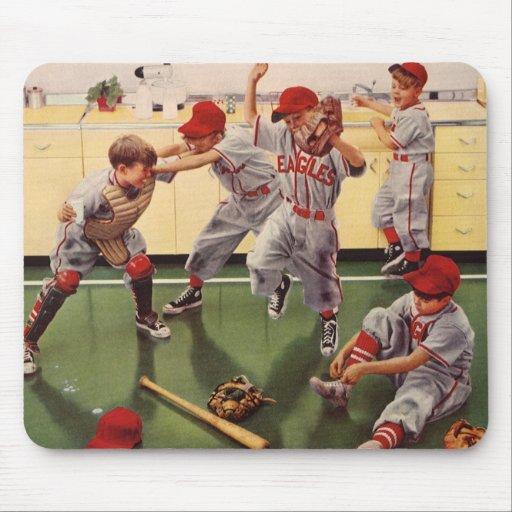 El vintage se divierte al equipo de béisbol, alfombrilla de ratón