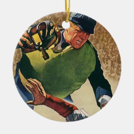 El vintage se divierte al jugador de béisbol, adorno redondo de cerámica