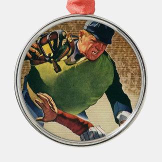 El vintage se divierte al jugador de béisbol, el adorno navideño redondo de metal