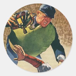 El vintage se divierte al jugador de béisbol, el pegatina redonda